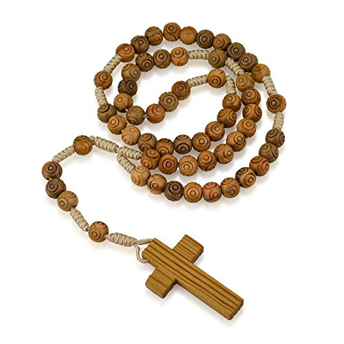Marina Jewelry Genuine Olive Wood Engraved Round Bead and Cord Necklace Rosary, Plain Wood (Rosary Wood Crucifix)