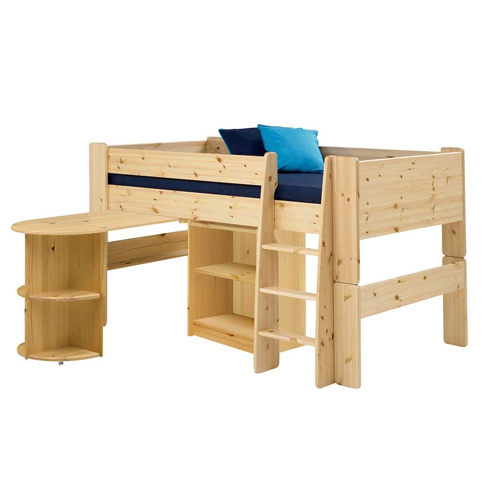 Pharao24 Hochbett mit Schreibtisch und Regal Kiefer Massivholz