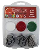Ruby Red Christmas 3 Stamp Face Paint Kit Santa, Present and Christmas Tree