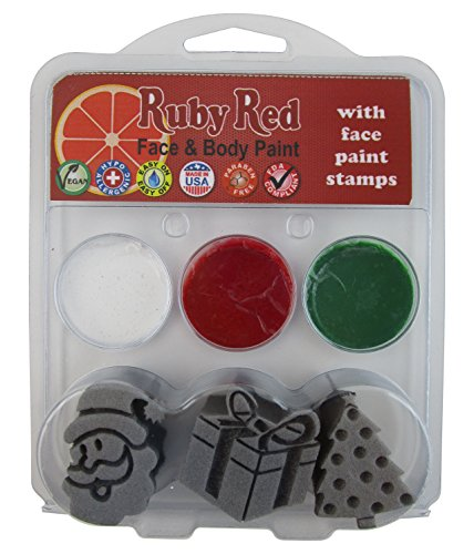 Ruby Red Christmas 3 Stamp Face Paint Kit Santa, Present and Christmas -