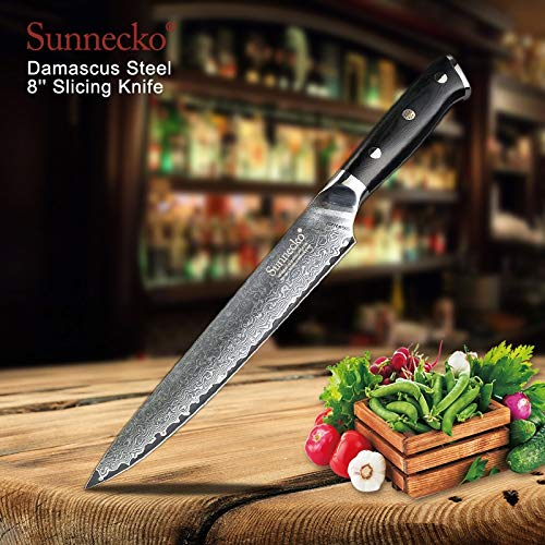 Best Quality Kitchen Knives Premium 8 inch Damascus Slicing Knife Japanese VG10 Steel Sharp Blade Kitchen Knives G10 Handle Meat Sashimi Cutter Knife