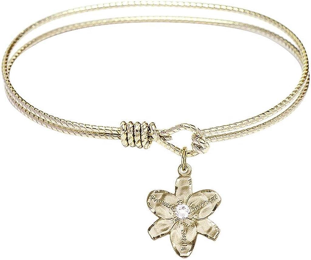 Chastity Charm On A 6 1//4 Inch Oval Eye Hook Bangle Bracelet