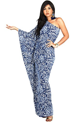 KOH KOH Womens Long One Off The Shoulder Evening Floral Print Cocktail Spring Summer Floor Length Flowy Elegant Sexy Sundress Gown Gowns Maxi Dress Dresses, Navy Blue M (Floral Silk Gown)