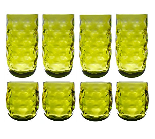QG Clear Colorful Acrylic Plastic 14 & 23 oz. Cup Drinking Glass Tumbler Set of 8 Green