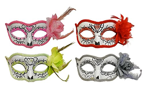 (Black Duck Brand Set of 4 Masquerade Day of The Dead Masks 4 Bright Colors - Hand)