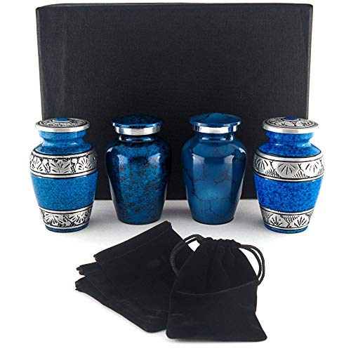 Small Cremation Urns for Human Ashes by Adera Dreams - Blue Mini Keepsake Urn Set of 4 - with Premium Case, Funnel and Velvet Carrying Pouches - Miniature Memorial Funeral Urns for Sharing Ashes ()