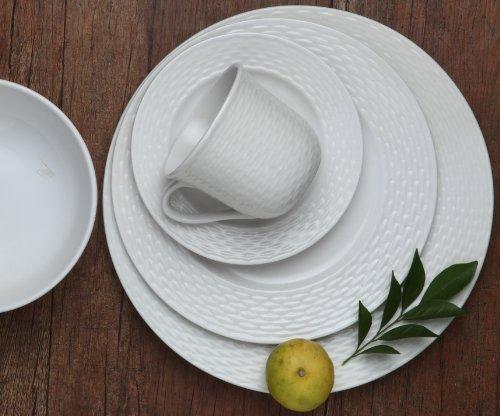 Melange 40-Piece Porcelain Dinnerware Set (Nantucket Weave) | Service for 8 | Microwave, Dishwasher & Oven Safe | Dinner Plate, Salad Plate, Soup Bowl, Cup & Saucer (8 Each) by Melange (Image #2)