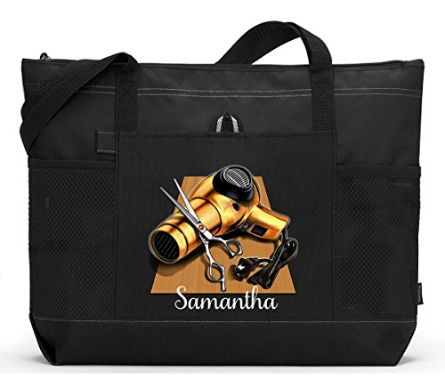 Personalized Hair Stylist Tote Bag with Mesh Pockets by Simply Custom Life