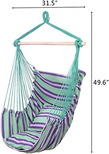Gefemini Canvas Hammock Chair,Max 250 lbsCotton Hammock Seat with Pillows for Indoor Outdoor Porch, Yard,Green Shipping from U.S.A