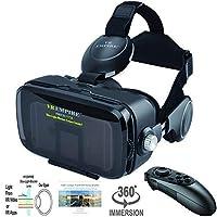 Gafas 3D para auriculares VR con controlador VR remoto 120 ° FOV, lentes anti luz azul, auriculares estéreo, para todos los teléfonos inteligentes con una longitud inferior a 6,3 pulgadas, como iPhone y Samsung HTC HP LG etc.