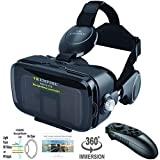 VR Headset Virtual Reality Headset 3D Glasses with 120°FOV, Anti-Blue-Light Lenses, Stereo Headset, for All Smartphones with