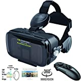 VR Headset 3D Glasses with VR Controller Remote 120° FOV, Anti-Blue-Light Lenses, Stereo Headset, for All Smartphones with Length Below 6.3 inch Such as iPhone & Samsung HTC HP LG etc.