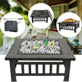 ZENY Outdoor 32'' Metal Fire Pit BBQ Square Table Backyard Patio Garden Stove Wood Burning Fireplace with Spark Screen,Poker,Cover,Grill Larger Image
