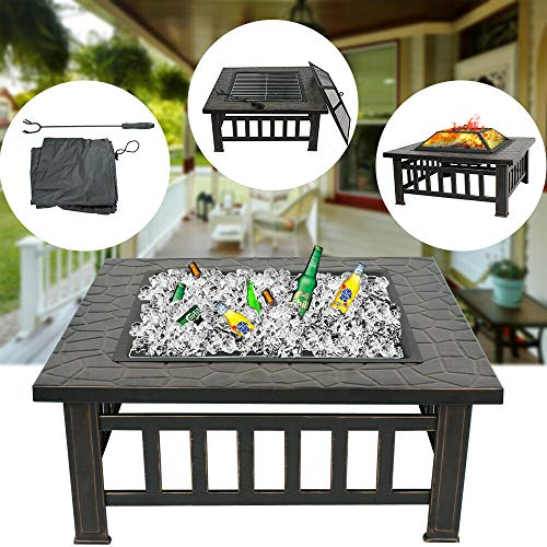 (ZENY Outdoor 32'' Metal Fire Pit BBQ Square Table Backyard Patio Garden Stove Wood Burning Fireplace with Spark Screen,Poker,Cover,Grill)