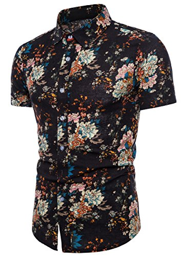 Men's Casual Floral Pattern Button Up Short Sleeve Shirt Tops, 111# Color, US 3X-Large = Tag 8XL
