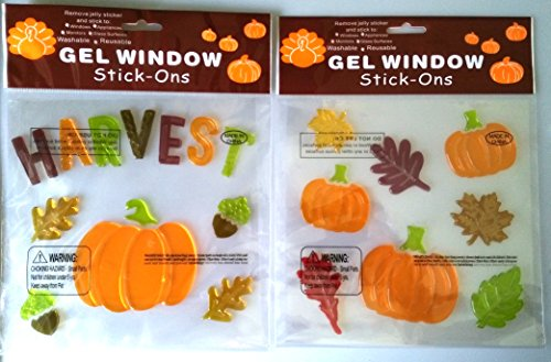 Harvest, Pumpkins, Acorns and Leaves Gel Window Clings - Gel Window Stick-ons (2 Pack)