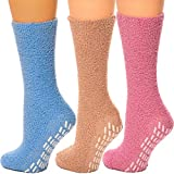 Debra Weitzner Non skid Hospital Socks For Women Men Cozy Fuzzy Socks 3 Pairs