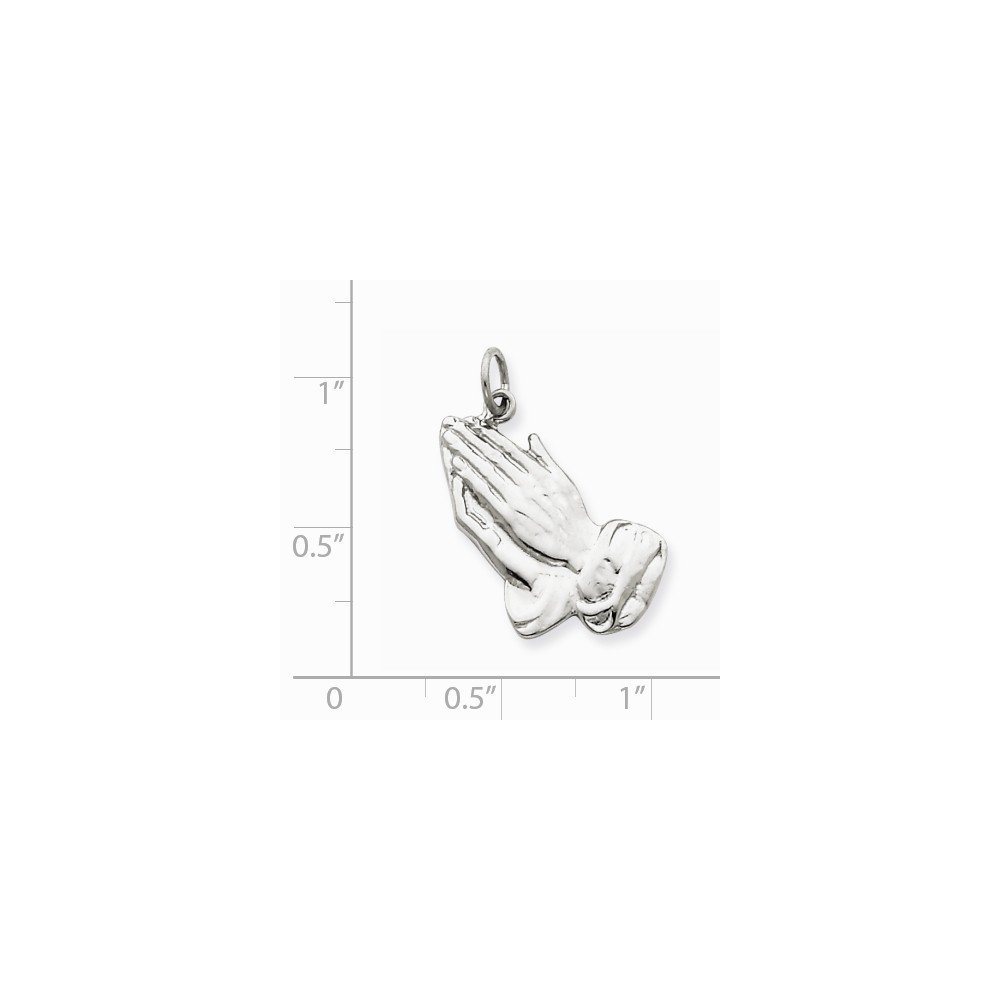 .925 Sterling Silver Praying Hands Charm Pendant