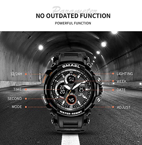 Winsummer Men's Sports Analog LED Digital Wrist Watch Dual Quartz Military Army Sport Watch Water Resistant Black by Winsummer (Image #4)