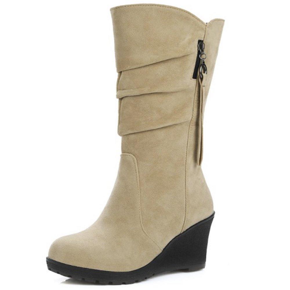 Zanpa Femmes Moyens Chaussures Femmes Mode Compenses Moyens Mode Bottes Beige d7281ea - boatplans.space