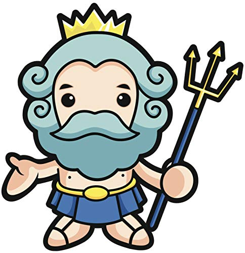 - EW Designs Kawaii Greek Mythology GOD Poseidon Crown Staff Light Dark Blue Yellow Black White Vinyl Decal Bumper Sticker Two in One Pack (4 Inches Tall)