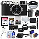 Fujifilm X100F Wi-Fi Digital Camera (Silver) with Leather Case + 64GB Card + Flash/Video Light + Battery & Charger + Tripod + Tele/Wide Lens Kit