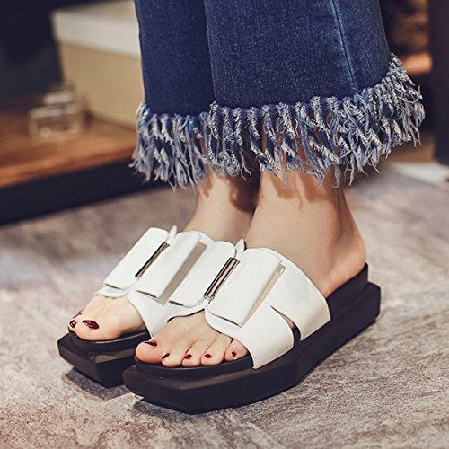 PBXP Pattini Donna OL elegante casual semplice scivolo famiglia scarpe comode UE taglia 35-40 , white , 36