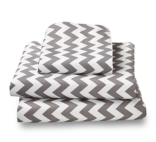 XL Twin Sheet Set Gray Chevron - Double Brushed Ultra Microfiber Luxury Bedding Set