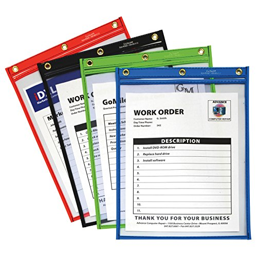 Ticket Holder Blue - C-Line Heavy Duty Super Heavyweight Plus Stitched Shop Ticket Holder, Assorted Colors, 9 x 12 Inches, Box of 20 Shop Ticket Holders (50920)