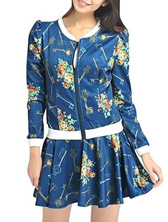 Lady Round Neck Key Pattern Jacket w Stretchy Waist Skort Dark Blue XS