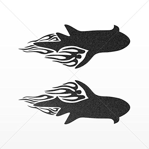 Decals Stickers Pair Of Flamed Sharks Tablet Laptops Weatherproof Spor Mettalic Black (5 X 1.98 In)