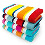 KAUFMAN – 100% Cotton Multicolor Joey Cabana Stripe Beach & Pool Towel 4-Pack – 32in x 62in