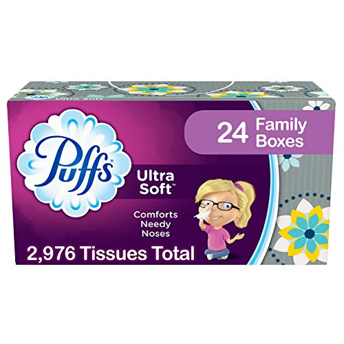 - Puffs Ultra Soft Facial Tissue, 24 Family Boxes, 124 Tissues per Box