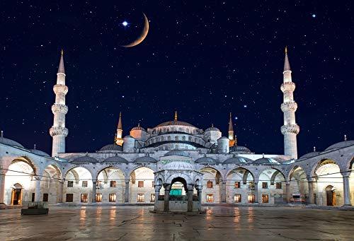 - Baocicco 5x3ft Background for Blue Mosque Istanbul Turkey Sultan Ahmed Mosque Masdjid Photography Backdrop Crescent Moon Stars Arab Eid Mubarak Holiday Islamic Pray Fiesta Decor Photo Studio Props