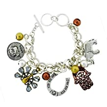 Lucky Charm Bracelet BC Crystal Tri Tone Chunky