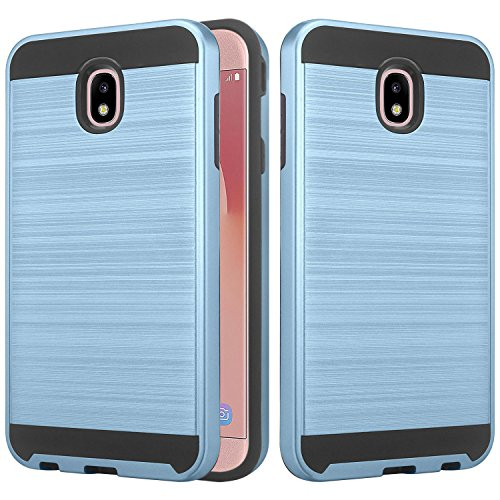 Texured Design - Galaxy J7 2018 Case, J7 Aero, J7 Top, J7 Crown, J7 Aura, J7 Refine, J7 Eon Case, Lacass Shockproof Brushed Metal Texured Design Slim Hybrid Case - Brushed Blue
