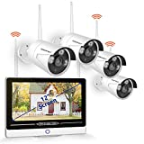 [All-in-One&8CH Expandable] Security Camera System Wireless,SMONET 8CH 1080P Home Security System with 12inches Monitor(1TB Hard Drive),4pcs 1.3MP Wireless IP Cameras,P2P,Easy Remote View,Free APP