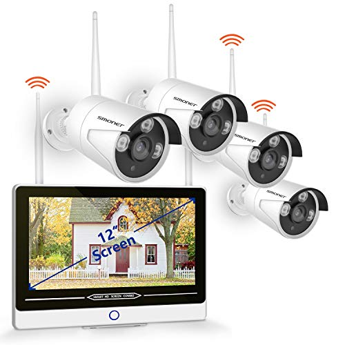 """(【2019 NEW】All in One with 12"""" Monitor Security Camera System Wireless,SMONET 8-Channel 1080P Home Security System (1TB Hard Drive),4pcs 1.3MP Outdoor Wireless IP Cameras,P2P,Easy Remote View,Free APP)"""