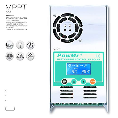 PowMr 60amp 48V 36V 24V 12V Auto MPPT Solar Charge Controller Max 190VDC Input LCD Backlight Solar Charge for Vented Sealed Gel NiCd Lithium Battery【Software Update Version】(60A)