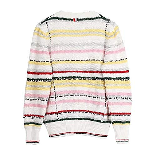 Manica Scollo Colorblock Lavorato Pocket Fashion Lunga Outfit Jacket A Cardigan V Double Maglia Women Stripe Qinjli AwIqYv4x