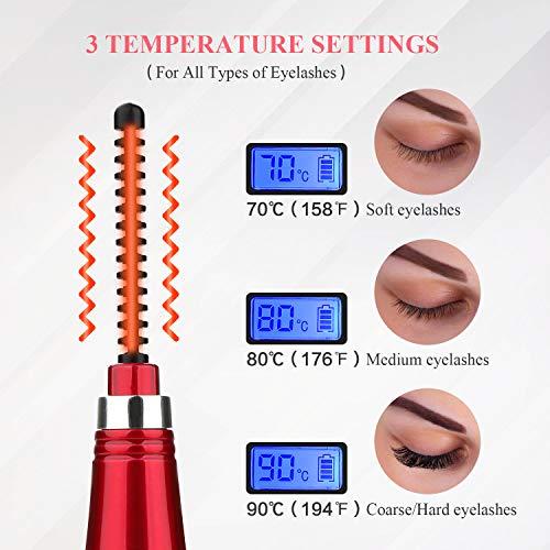 Bigoudis cils électrique en céramique MAQUITA rechargeable par USB et affichage LED 3 vitesses de température pour un curling naturel rapide de longue durée