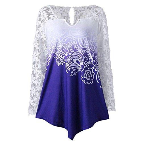 GONKOMA Womens Printing Lace Shirt Ladies Casual Fashion Long Sleeve Tops Blouse