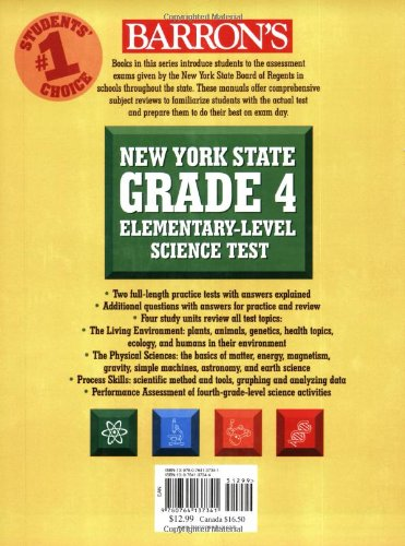 Barrons New York State Grade 4 Elementary Level Science Test Joyce