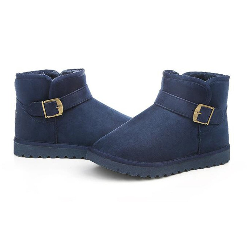 The winter snow boots warm low cashmere boots with thickened short tube black shoes,42 blue