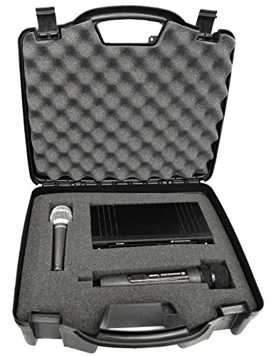 STUDIOCASE Wireless Microphone System Hard Case w/ Foam - Fits Sennheiser , Shure , Audio-Technica , Nady , VocoPro , AKG With Receiver , Body Transmitter , UHF Headset , Lavalier and Handheld Mics (4 Wireless Mic System Case)