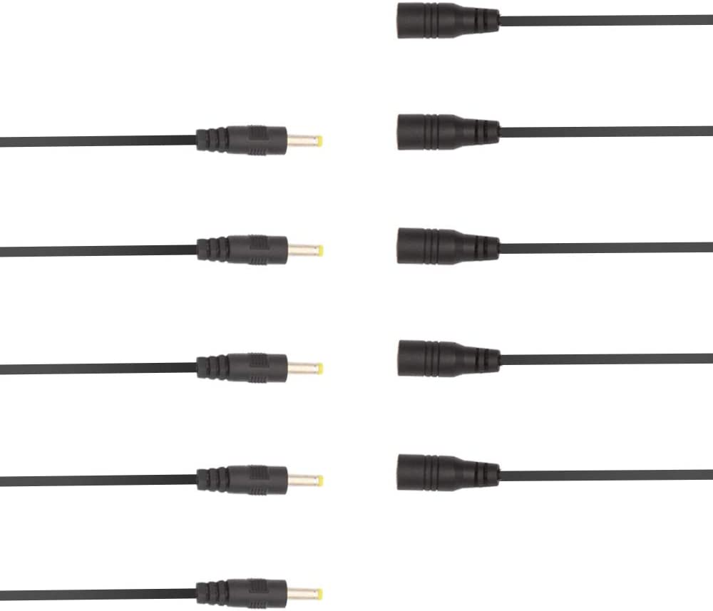 5 Pairs DC Power Cord 4.0mm x 1.7mm Male and Female Power Pigtail Cable Male Connectors DC Cable 4.0 x 1.7mm Male to Female Power Plug Connector Cable