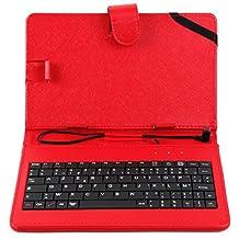 """Etui aspect cuir rouge + clavier intégré AZERTY pour tablette Auchan Qilive Q4 Android 8"""" 4G et Qilive Q.3004 7"""" + stylet tactile BONUS, par DURAGADGET"""