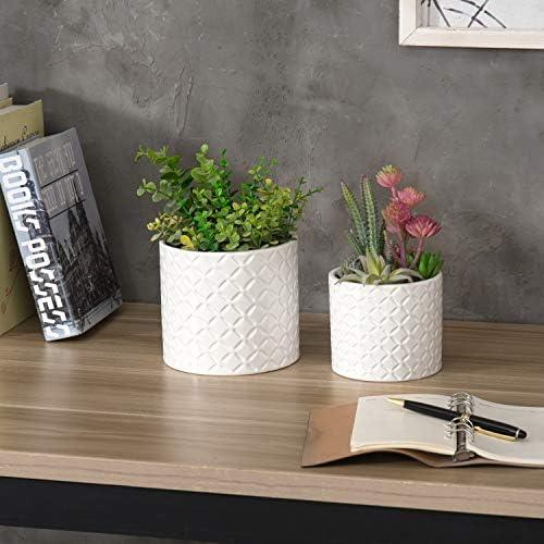 Set of 2 Diamond Textured White Ceramic Round Planter Flower Pots, 6 inch and 4.7 Inch