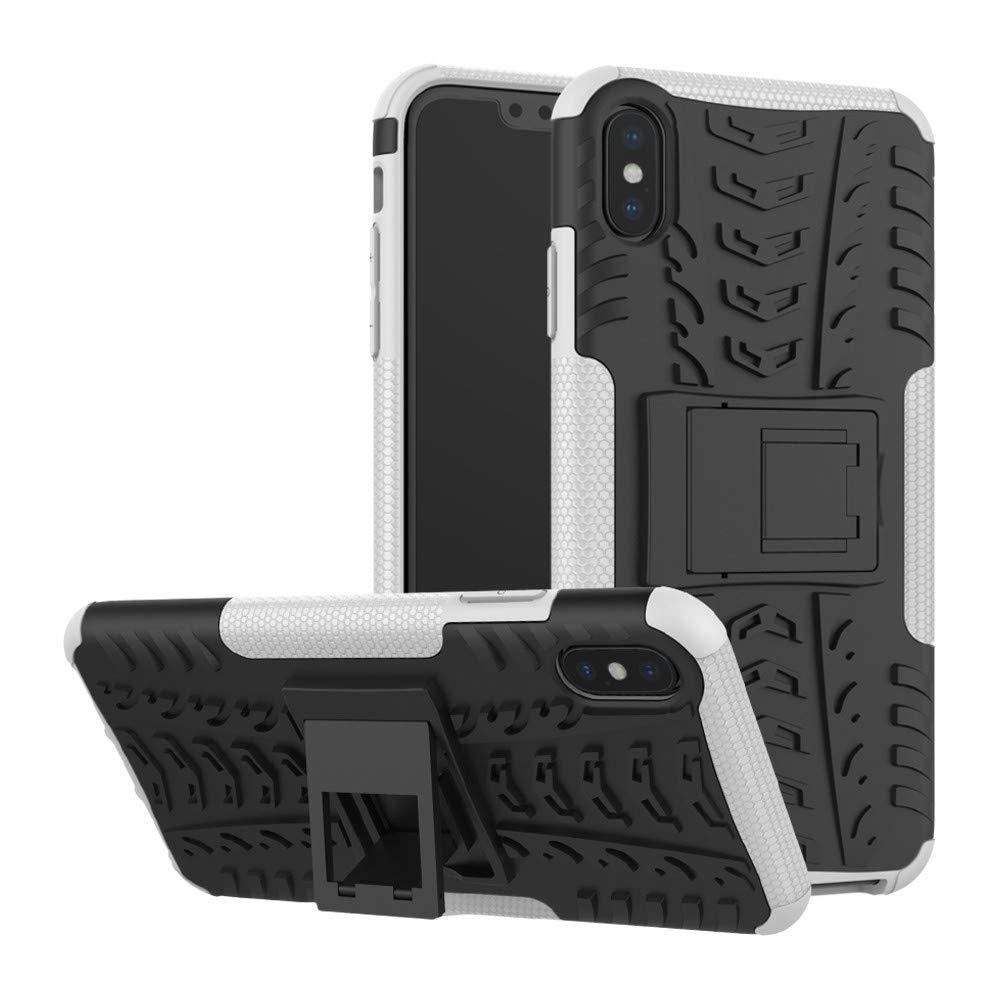 para iPhone XS/XS MAX Funda, Colorful Dual Layer Hybrid Funda Carcasa Antigolpes Telé fono Mó vil –  Case con Soporte Carcasa para iPhone XS/XS MAX