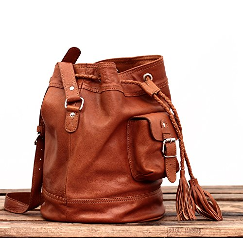 MARIUS PAUL with brown bucket LE FLÂNEUR bag women leather for tassels light dq7wr7